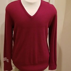 XL Adidas red sweater with white trim.